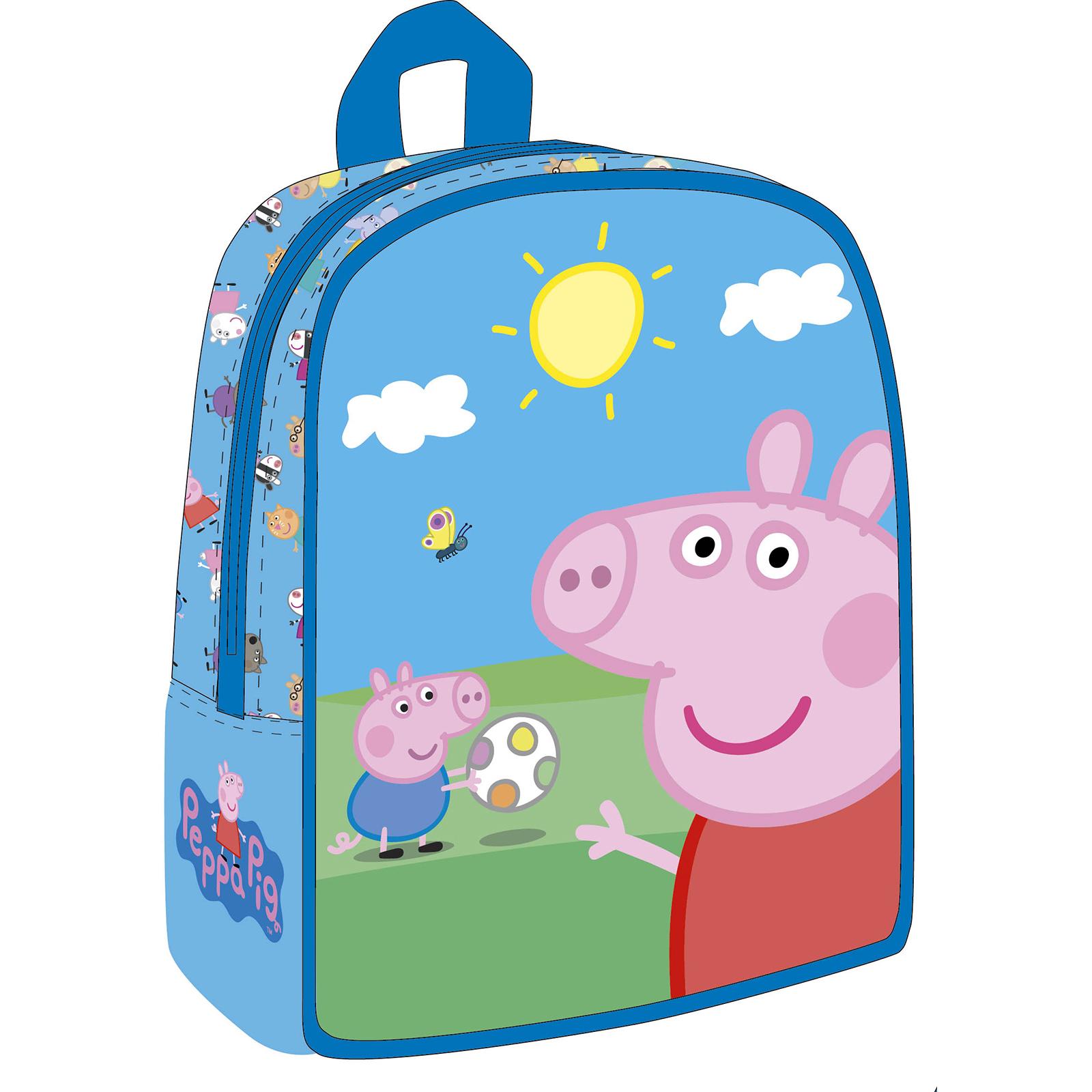 Дошкольный рюкзачок Свинка Пеппа, среднийДошкольный рюкзачок от бренда Росмэн выполнен в голубом цвете и украшен изображением Свинки Пеппы - популярного персонажа одноименного мультсериала. Портфель имеет одно отделение, застегивающееся на молнию. Лямки рюкзака регулируются, позволяя ребенку приспособить его под себя. Рюкзак выполнен из водонепроницаемой ткани, которая убережет содержимое портфеля от попадания влаги.<br>