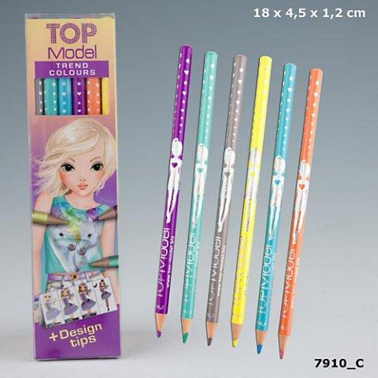 TOPModel Тренд  набор цветных карандашей, 6 пастельных цветовНабор цветных карандашей TOPModel Trendсостоит из 6 нежных и пастельных оттенков, которые актуальны в этом году. В комплект входят 6 карандашей: серебряный, фисташковый, голубой, сиреневый, оранжевый и желтый и 2 примера для создания образа.<br>