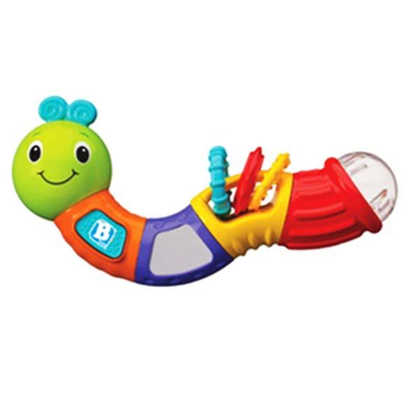 Погремушка с прорезывателем Веселая гусеничкаВеселая гусеничка от производителя Bkids - забавная развивающая игрушка, помогающая малышу знакомиться с миром. Игрушка изготовлена из безопасного пластика, которую можно с легкостью мыть и протирать. Самым маленьким всегда интересно почувствовать все на ощупь или попробовать на вкус, поэтому гусеницу можно кусать и грызть. А для тех у кого уже лезут зубки, имеются специальные колечки-прорезыватели. Игрушка оснащена звуковым эффектом, который можно услышать просто встряхнув гусеничку. Игрушка рекомендована для малышей от трех месяцев до двух лет.<br>