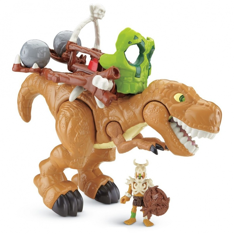 Фигурка Imaginext T-REX CDN91Фигурка функциональная Imaginext T-Rex обязательно понравится всем поклонникам динозавров. Вместе с этой игрушкой ребенок сможет пережить потрясающее приключение - ведь это король всех динозавров - грозный Ти Рекс!На его спине расположена установка способная швырять камни в врагов, достаточно лишь нажать на кнопку питания. Также игрушка обладает потрясающими звуковыми эффектами - если открыть пасть Ти Рекса, он издаст мощный рык! Каждый мальчишка будет в восторге от такой игрушки. С её помощью её он сможет создать свое историческое приключение!<br>