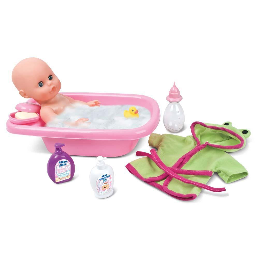 Пупс Bambolina с аксессуарами для купания (пьет, писает), 33 смПупс Bambolina с аксессуарами для купания - это отличное приобретение для любой девочки, желающей попробовать себя в роли заботливой мамы.Играя с данным набором, малышка сможет по-настоящему проявить ответственность и заботу о маленьком младенце, которого необходимо кормить, сажать на горшок и, конечно же, купать в ванночке. Для этого девочке предоставлены все необходимые аксессуары: бутылочка, ванна, халат, несколько флаконов с шампунем и пеной для ванны, мыльница с мылом, а также детская игрушка, чтобы пупс не скучал во время купания. Благодаря всем этим принадлежностям ребенок надолго увлечется своей ролью мамы и получит от этого огромное удовольствие.<br>