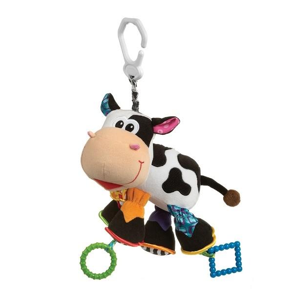 Playgro Игрушка-подвеска Корова 0182953Мягкая игрушка Корова от фирмы Playgro, обязательно понравится вашему малышу. Игрушка имеет удобное колечко, чтобы можно было прикрепить ее к сидению, коляске или кроватке. Внутри подвески имеется погремушка, которая весело озвучит игру ребенка с ней. Игрушка уже с первых дней покажет, насколько она полезна, ведь она поможет развить все чувства: моторику, зрительную координацию, слух, а также причинно-следственные связи. Все это возможно благодаря различным фактурам на лапках и контрастной расцветке.<br>