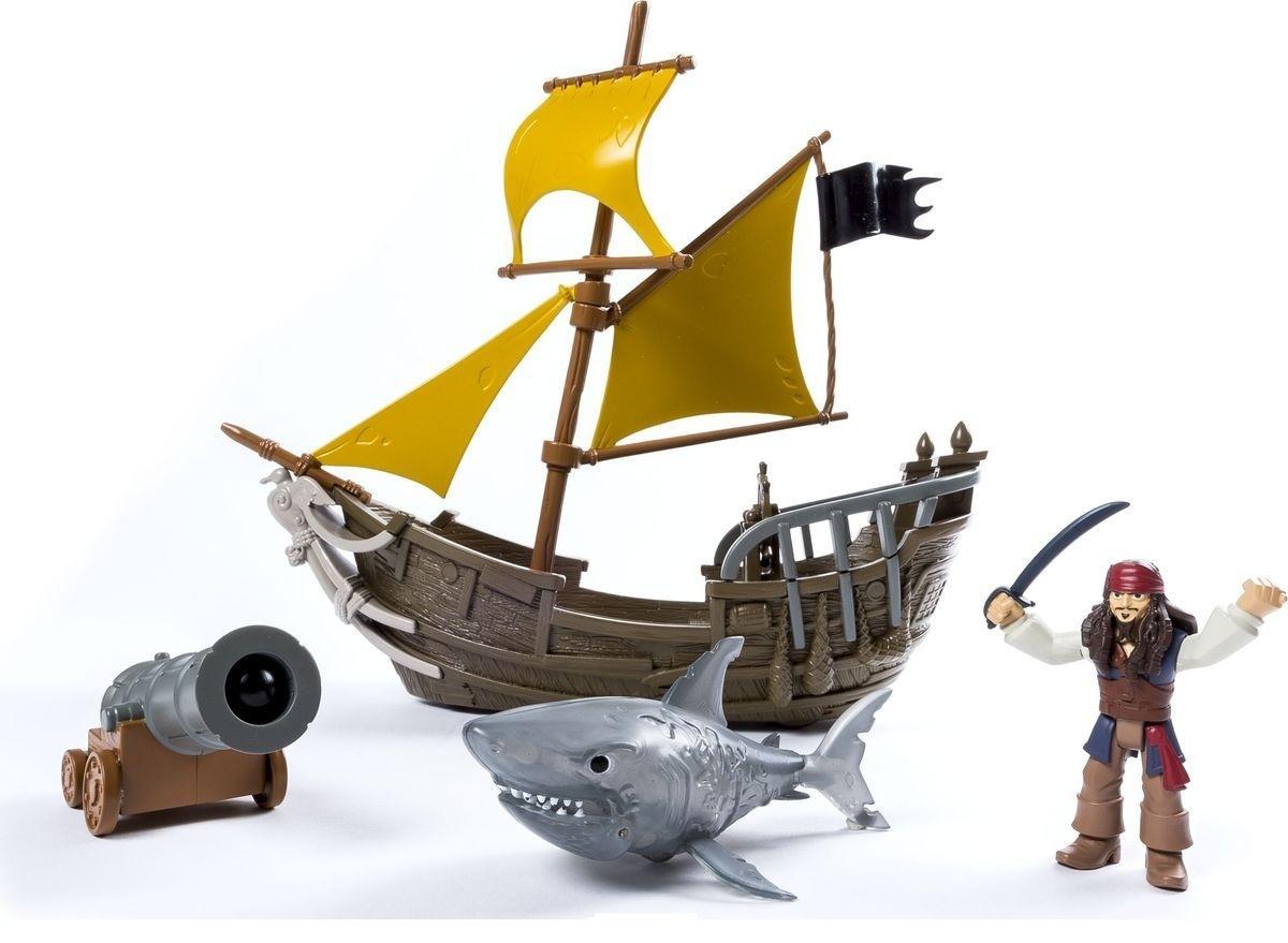 Pirates Корабль Джека ВоробьяВ наборе корабль Джека Воробья (размер 30 см) со съемной пушкой, стреляющей снарядами, фигурка Джека Воробья (размер 7-8 см) и фигурка морского чудовища. Блистерная упаковка.<br>