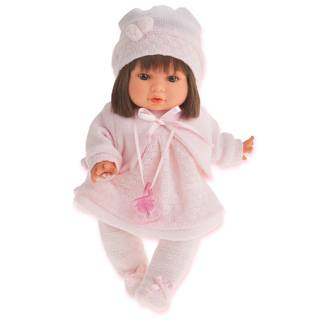 Кукла Кристи в светло-розовом, плачет, 30 см.Кукла Кристи в светло-розовом, которая представлена компанией Munecas Antonio, может заинтересовать многих девочек. Игрушка отличается правдоподобным дизайном, она очень похожа на настоящую девочку. На куклу надет костюм светло-розового цвета и вязаная шапка. Волосы игрушки можно расчесывать. Игра в дочки-матери станет более реалистичной, так как игрушка способна плакать как настоящий ребенок. Кукла изготовлена из высококачественных материалов. В процессе игры дети смогут развить воображение, заботливость и внимательность.<br>