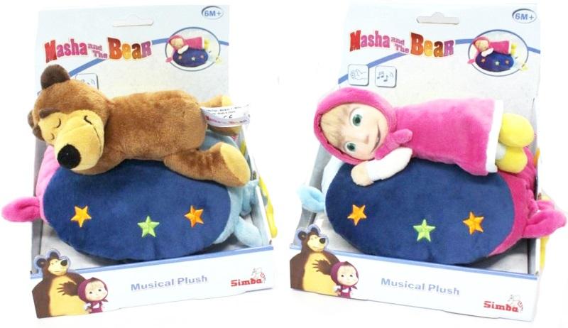 Музыкальная плюшевая подушка Simba Маша и Медведь  simba плюшевая книжечка маша и медведь
