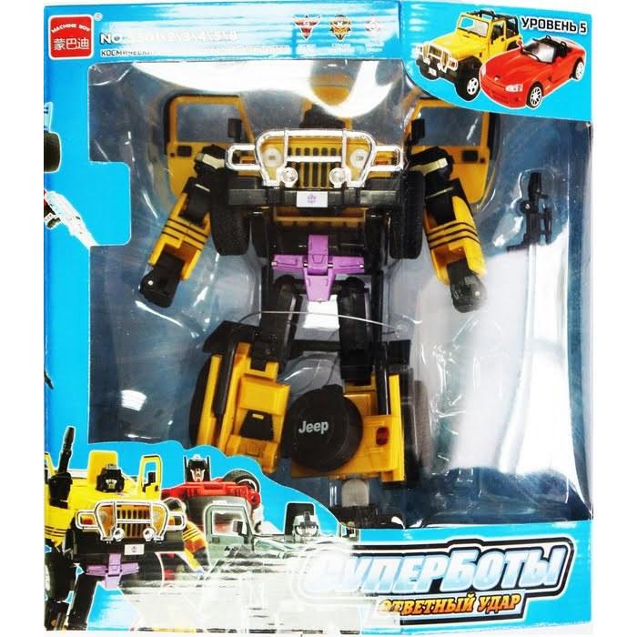 Робот-трансформер Jeep XXLРобот-трансформер Jeep XXL - это захватывающая игрушка для мальчиков, интересная своей необычной способностью к трансформации. Первым и основным обликом игрушки является оригинальный робот желтого цвета с огромным количеством разнообразных необычных деталей. Но если постараться, то робота можно перестроить и трансформировать в стильный игрушечный джип.Такую игрушку можно многократно превращать в автомобиль и обратно, и от этого он не сломается. Благодаря этой способности с игрушкой можно придумать в два раза больше сюжетов для игр ребенка. С этой игрушкой можно играть и как с роботом, придумывая фантастические сюжеты с космическими сражениями, и как машинкой, устраивая гонки или просто катя ее в различных направлениях.Внимание! Дизайн упаковки может варьироваться и отличаться от изображения на фото.от 3 летДля мальчиковЦвет: желтый.Материалы: пластик, металл.Размер упаковки: 26 x 10 x 33 см.<br>