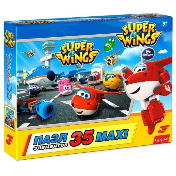 SuperWings Пазл 35 деталей Все вместе 03031Пазл для малышей Супер-крылья представлен брендом Origami. Он позволит собрать веселую картинку с изображением веселых героев мультсериала Super Wings - Джетта и его друзей. Пазл состоит из 35 крупных элементов, с которыми справится даже маленький ребенок. Готовая работа сможет стать прекрасным украшением детской комнаты.<br>