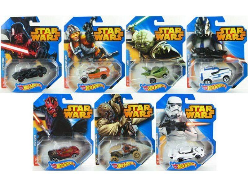 Hot Wheels Star Wars Ассортимент машинок персонажейStar Wars и Hot Wheels создали вместе уникальный шедевр- автомобили в стиле любимых персонажей по мотивам фильма «Звездные войны».Машинки повторяю все мелкие детали образа и характера каждого персонажа. Выполнены из нетоксичного прочного пластика в масштабе 1:64. Имея такие машинки в своей коллекции можно воспроизводить сцены из фильма и придумывать все новые и новые сюжеты, не давая своим машинка простаивать.Автомобили из серии Star Wars помогут Вашему ребенку проявить себя не только творческие способности, но моторику, логику, фантазию и воображение.Преподнеся своему малышу в подарок машинку Hot Wheels серии Star Wars, Вы никогда не забудите счастливый огонек в глазах ребенка.<br>