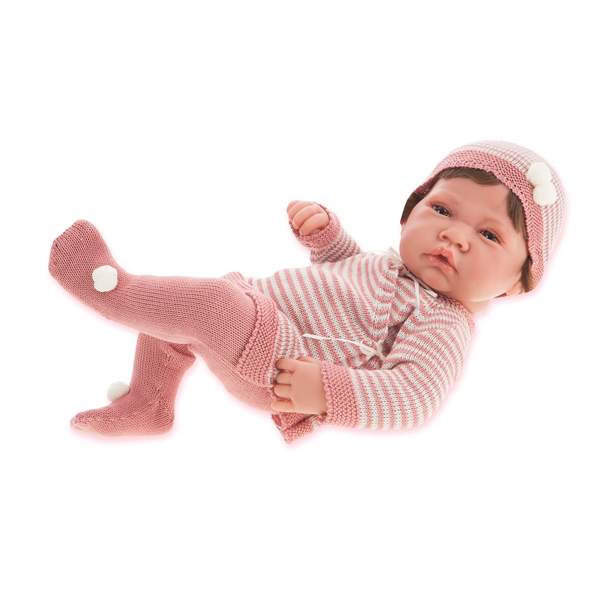 Juan Antonio Пупс Мануэла цвет одежды розовыйПупс Juan Antonio Мануэла - это трогательная и забавная игрушка, которая непременно очарует любую девочку. Образ пупса разработан европейскими дизайнерами с любовью и вниманием к деталям. Игрушка выполнена из прочного безопасного винила с покрытием soft touch, мягкого и приятного на ощупь. Кукла натуралистична и анатомически точна. Ручки и ножки младенца подвижны. Реалистичные глазки пупса обрамлены нежными пушистыми ресничками. Очаровательный малыш одет в вязаный наряд. Милый пупс приведет в восторг любую девочку, а детально проработанный внешний вид сделает такую игрушку превосходным подарком и для взрослого коллекционера. Игры с пупсом научат малышку ответственности и внимательности.<br>