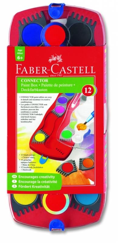 Купить со скидкой Faber-Castell Набор акварельных красок CONNECTOR с кисточкой, 12 шт.