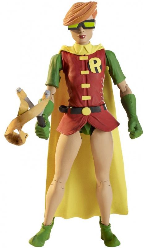 Робин DC Comics  из серии Возращение тёмного рыцаряФигурка супергероя «Робин» исполнена точной легко узнаваемой копией персонажа из серии «Бэтмен: Возвращение Темного рыцаря». Любители комиксов оценят точное сходство, подробное исполнение всех мельчайших деталей красочного костюма и оружия Робина. Игрушка имеет 11 точек артикуляции, поэтому идеально подойдёт для захватывающих сюжетно-ролевых игр<br>