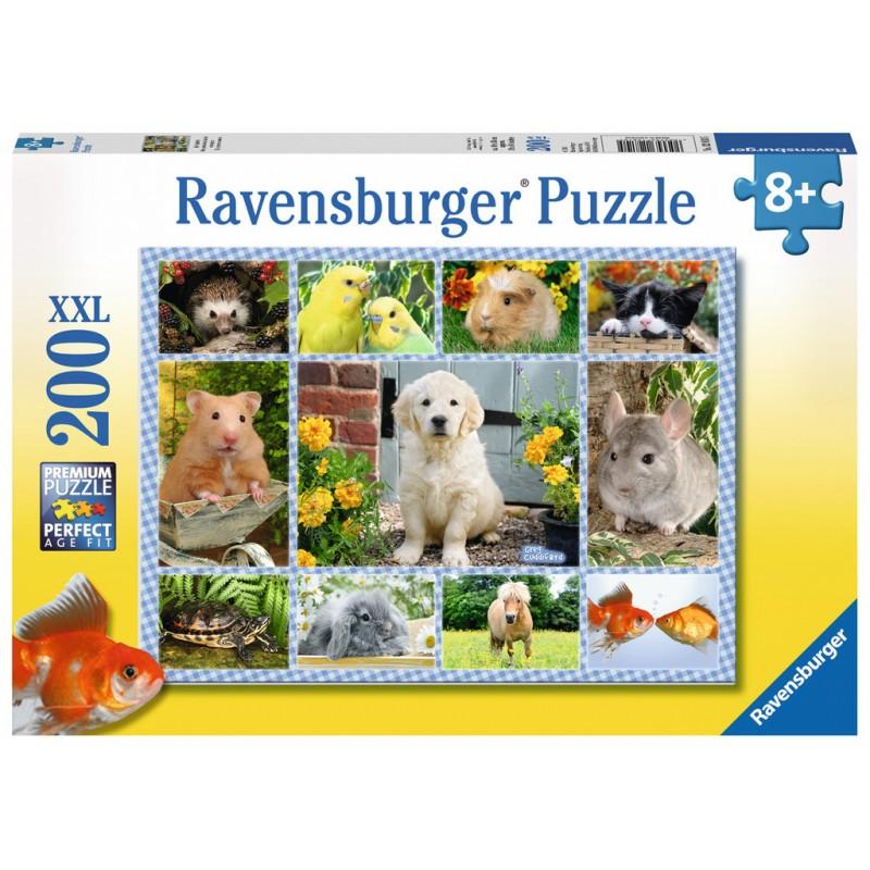 Пазл «Мой Первый Питомец» Xxl 200 Шт Ravensburger 12810Пазл Мой первый питомец от компании Ravensburger может понравиться детям, которые любят собирать подобные мозаики. Он состоит из двухсот элементов, и поэтому его смогут собрать дети старше восьми лет. В готовом виде картинка будет изображать самых разных домашних любимцев: щенка ретривера, рыбок, хомячка, морскую свинку, попугайчиков и многих других. Собрав пазл, дети смогут найти на нем животное, которое было их первым питомцем – или же того зверька, которого они хотят. Яркая и цветная картинка может стать украшением детской комнаты, если ее приклеить на картон и повесить на стену. Размер готовой картинки: 49х36 см.<br>