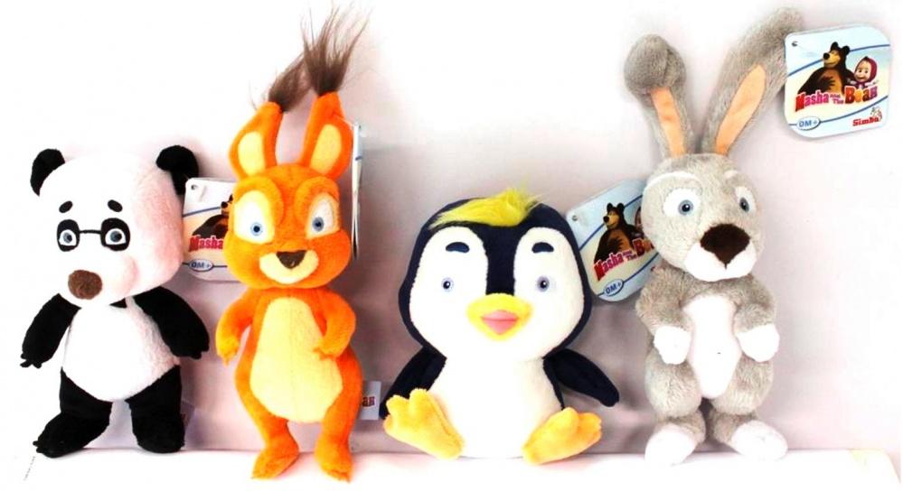 Плюшевая игрушка-погремушка Simba Маша и МедведьВ популярном детском мультфильме «Маша и медведь» есть не только 2 главных героя в виде озорной девочки в розовом сарафане и ее косолапом друге, но и другие персонажи, которые также любимы юными поклонниками сериала. Поэтому крохам непременно понравится получить в подарок одного из них, а потом сделать его главным героем для своих развлечений, развивая таким образом фантазию и воображение.Особенности:- Игрушки выполнены в виде ярких и красочных погремушек, которые при встряхивании издают забавные звуки и привлекают к себе внимание малыша, а также развивают мелкую моторику его рук.- Изделия представлены в ассортименте и напоминают персонажей популярного детского мультфильма «Маша и медведь»: панду, пингвиненка, зайца, белку.- Фигурки героев выполнены очень детально, а внешний вид в точности соответствует особенностям персонажей.- Игрушка плюшевая, поэтому очень приятная на ощупь, и крохе непременно захочется прижать ее к себе.- Погремушки окрашены очень ярко и красочно специальными стойкими красителями, которые даже со временем не сотрутся и останутся такими же насыщенными.- Игрушки изготовлены из гипоаллергенного текстильного материла и специального наполнителя, которые сертифицированы для производства товаров для детей, поэтому абсолютно безопасны и нетоксичны.<br>