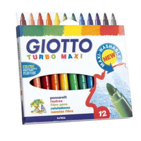 GIOTTO TURBO MAXI Фломастеры утолщенные, 12 цветовGiotto Turbo Maxi Фломастеры утолщенные, 12 цветов. Толстые фломастеры Giotto Turbo Maxi 76200 предназначены для рисования по любому виду бумаги, картону. У них яркие насыщенные цвета, равномерное раскрашивание, безопасные чернила на водной основе, легко смываются c рук, отстирываются с большинства видов ткани. Вентилируемый колпачок, уплотнённый пишущий узел, выдерживают сильное надавливание, утолщённый стержень выполнен из высококачественного фиброволокна диаметром 5 мм. Они отлично подойдут и для школьных занятий, и просто для рисования.<br>