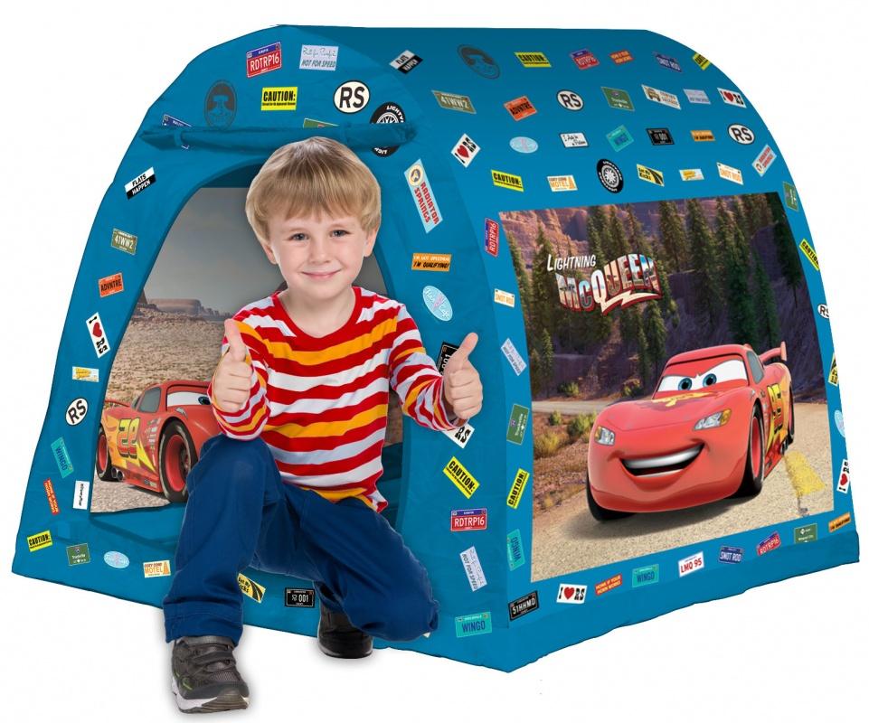 Палатка 105*98*90 см ТачкиИгровая палатка от FRESH-TREND Каждый в детстве строил дом под столом или между стульями. С помощью этой яркой палатки можно создать свою личную территорию, куда взрослому непросто попасть! Детская палатка яркого цвета отлично подойдет для игр Вашего ребенка. Палатку лучше использовать в закрытых помещениях, или на открытом воздухе в теплую сухую погоду.<br>