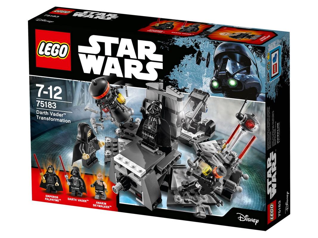 Конструктор Lego Star Wars Превращение в Дарта ВейдераИгрушки — трансформеры покоряют воображение и создают неограниченное поле для полета фантазии. А что, если это будет эпизод из Звездных войн? Отказаться от покупки нового набора Лего Превращение в Дарта Вейдера просто невозможно! Несколько несложных движений — и в вашем распоряжении оказывается целая команда персонажей любимого приключенческого сериала. Вначале соберите конструкцию из 280 деталей, а потом придумайте собственный сюжет по спасению Энакина. Конструкция стола подвижна, и вам можно менять его форму, поднимая или опуская крышку, чтобы оживить Дарта Вейдера. С помощью его силы можно отправить технику в полет и справиться с врагом. Не забудьте про шлем и комплект оружия, разработанного специально для межзвездных сражений. Новая техника дает неограниченные возможности для покорения межзвездного пространства, а остальное вам подскажет фантазия.<br>
