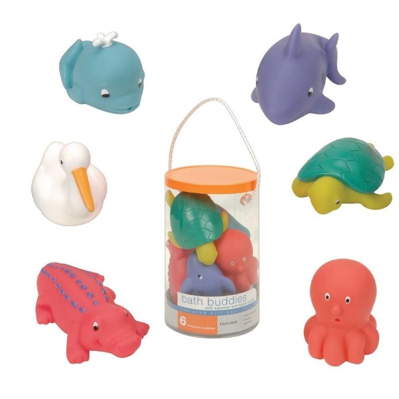 Игрушки для ванны Водные животныеНабор игрушек для ванны Водные животные, непременно, понравится вашему ребенку и превратит купание в веселую игру! Яркие игрушки-брызгалки выполнены из мягкого безопасного материала и приятны на ощупь. Если сначала набрать воду в игрушки, а потом нажать на них, то изо рта брызнет тонкая струя воды, что, несомненно, развеселит вашего малыша. Набор игрушек Водные животные способствует развитию воображения, цветового восприятия, тактильных ощущений и мелкой моторики рук.<br>