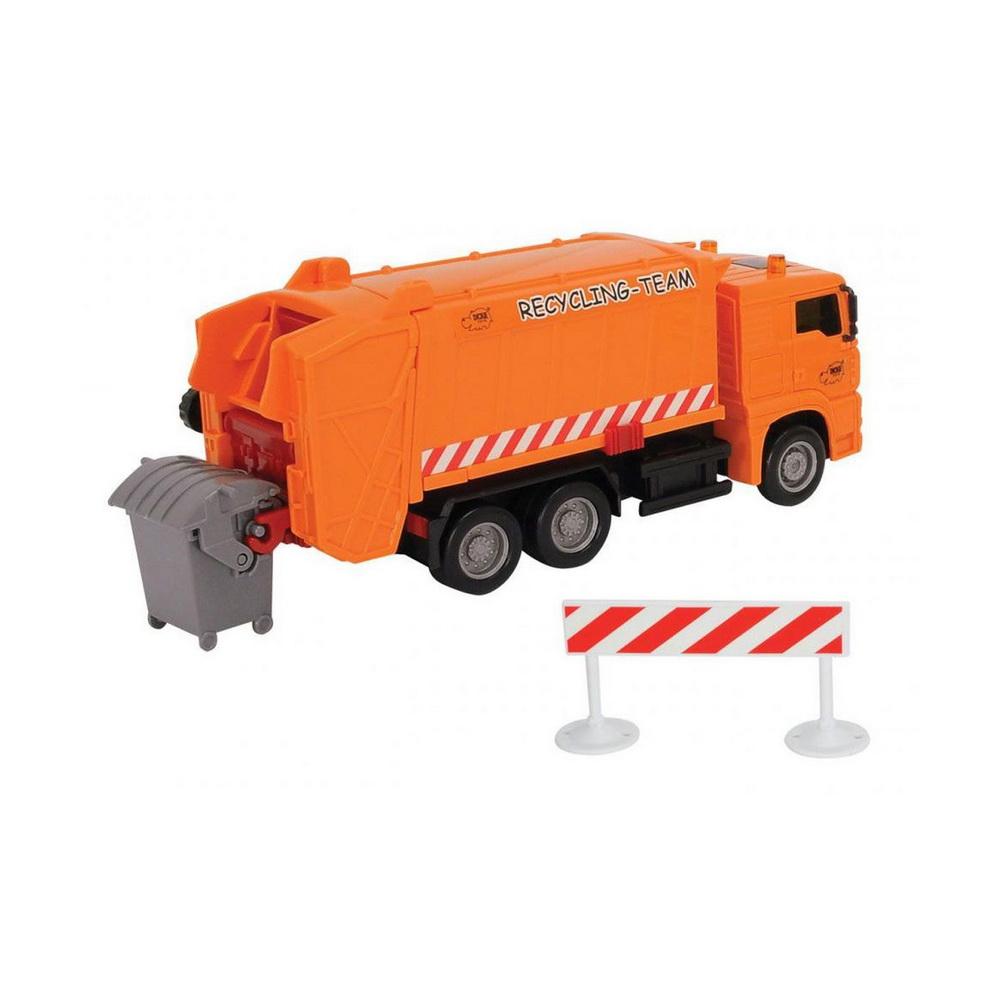 Мусороуборочная машина, 22смМусороуборочная машина Dickie Toys MAN привлечет внимание вашего ребенка и не позволит ему скучать. Игрушка выполнена из прочного пластика в виде хорошо детализированного мусоровоза.Кузов машины поднимается, задняя дверца кузова открывается. Мусоровоз оснащен подъемным механизмом для опрокидывания мусорного бака (входит в комплект).Ваш ребенок сможет часами играть с мусоровозом, придумывая различные истории. Порадуйте его таким замечательным подарком!<br>