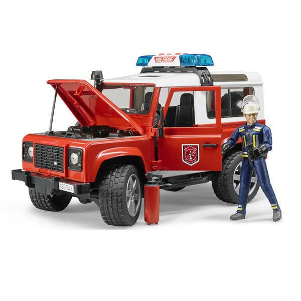 Внедорожник Land Rover Defender Station Wagon - Пожарная с фигуркойПожарный внедорожник Land Rover Defender - самый настоящий пожарный джип. Это копия реальной машины в масштабе 1:16. . При этом колеса тоже начнут поворачиваться. Переднее сиденье снимается, дверцы открываются. Открыв капот, можно изучить детали двигателя. В комплект также входит сигнальный блок на крыше со световыми и звуковыми эффектами. Звуки, издаваемые блоком, можно выбирать самостоятельно - звук работающего двигателя или один из трех видов сирены. Блок работает от батареек, которые прилагаются. Имеется также фигурка пожарного с аксессуарами.<br>