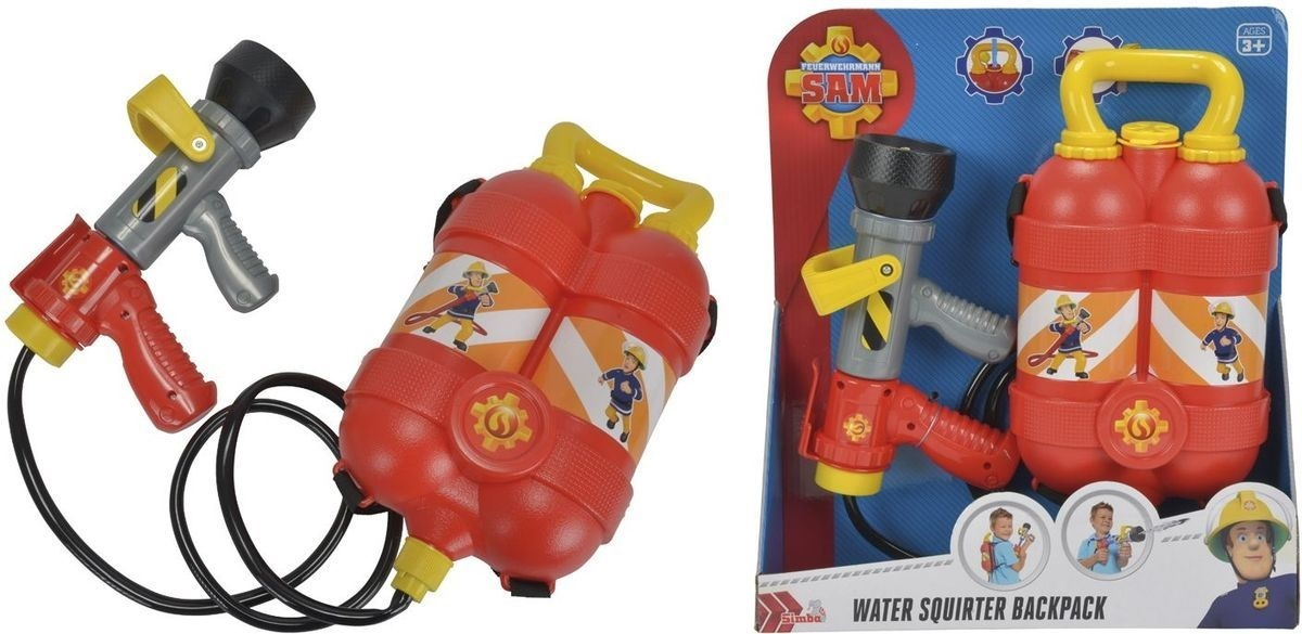 Пожарный Сэм, Водный пистолет с рюкзаком, 23см, 6/12Водное оружие от Simba в виде пожарного ствола (БРАНДСПОЙТ) и рюкзака с запасом воды. На рюкзак нанесены наклейки с изображением пожарного Сэма.<br>