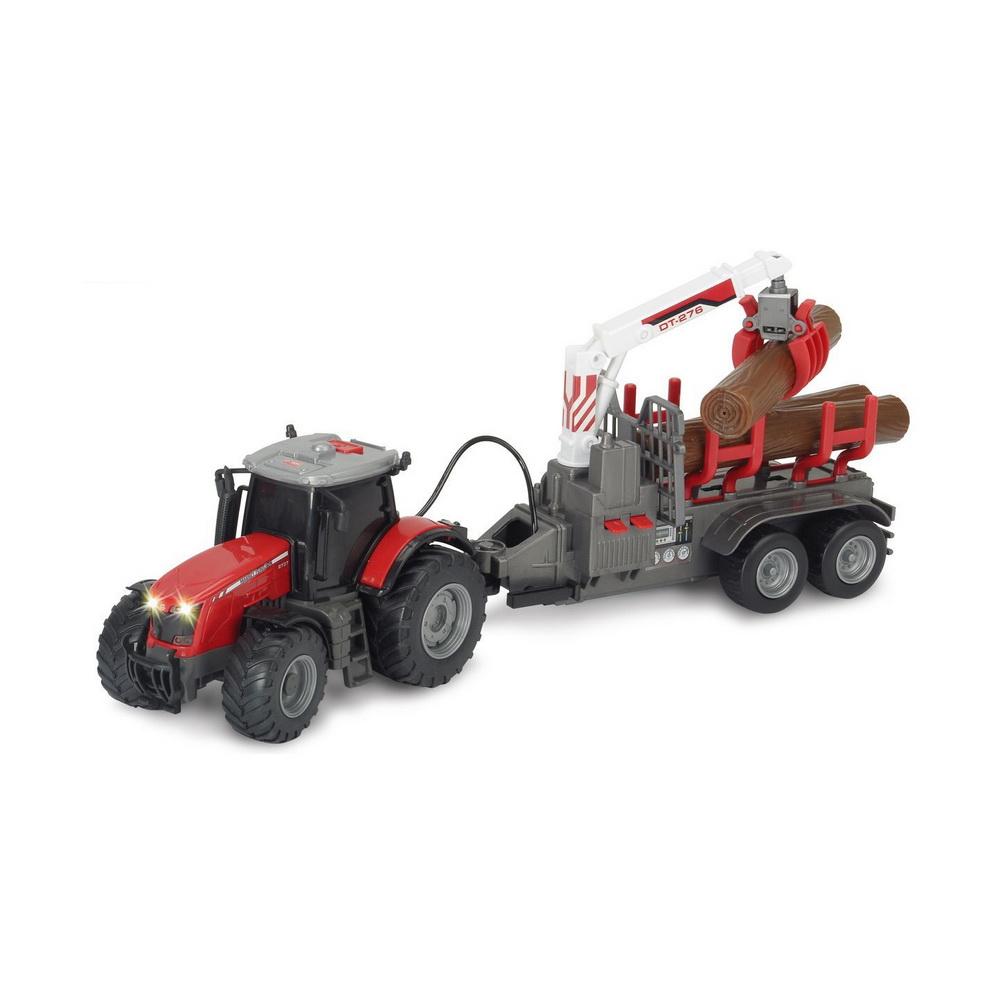 Трактор Massey с прицепом, 41см, св.,зв., функц., фрикц.Трактор Dickie Toys Massey с прицепом непременно понравится вашему мальчику. Трактор и прицеп выполнены в серо-красном цвете с подвижными элементами. Клешня поднимается и опускается при нажатии на кнопки. Фрикционный механизм. Машинка имеет световые и звуковые эффекты. Ваш ребенок будет часами играть с этой машинкой, придумывая различные истории. Порадуйте его таким замечательным подарком!Рекомендуется докупить 3 батарейки напряжением 1,5V типа АА (товар комплектуется демонстрационными).<br>