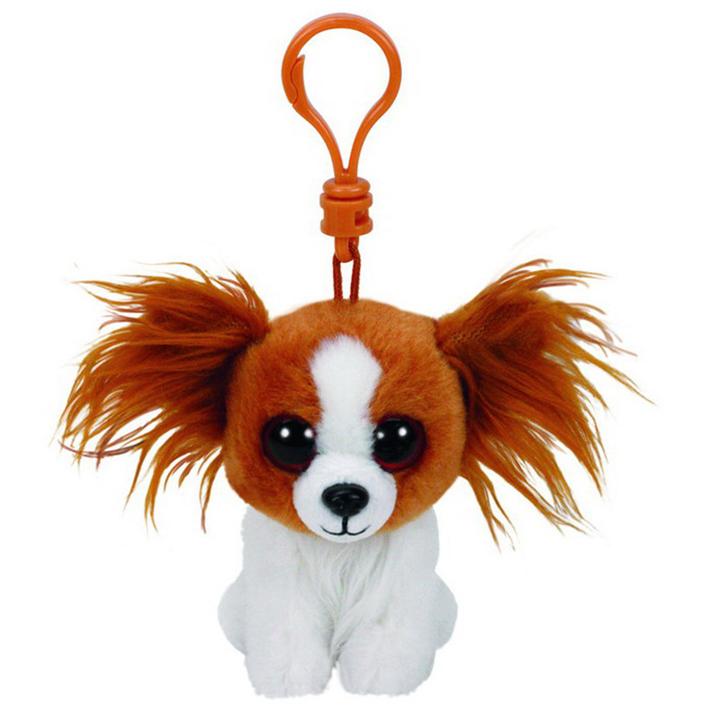 Beanie Babies Щенок Barks на брелке, 13 смЩенок Barks из серии Beanie Babies - это лопоухая плюшевая собака с белой шерсткой и коричневой мордочкой. У игрушки есть пластиковый карабин, благодаря которому ее можно повесить над кроваткой. Мягкая игрушка растопит сердце каждого - своим очарованием, обаянием и милой мордочкой. Щеночек подойдет как для игр, так и для украшения детской.<br>