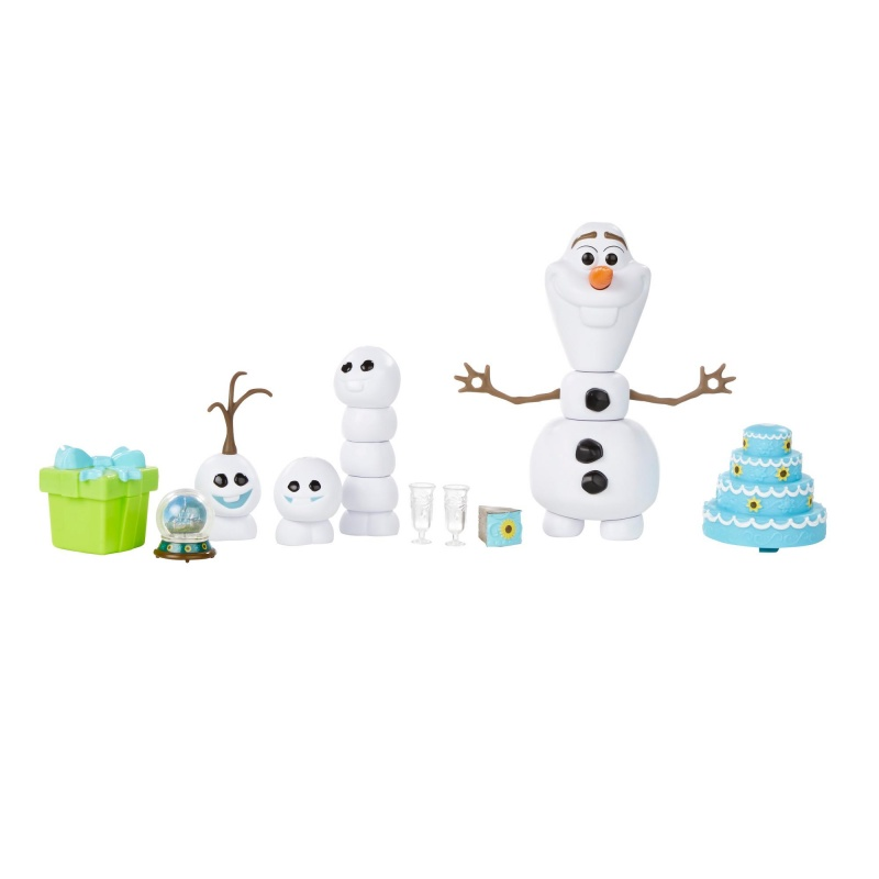 Disney Холодное торжество. ОлафВеселись вместе с Олафом и снеговичками на дне рождения Анны из м/ф Холодное торжество. Комбинируй различные части из набора, включая снеговичков! С праздничным тортом, 2 чашками и снежным шаром, подарком для Анны, Олаф готов в праздничному веселью!•Содержит Олафа (12 частей), 3 снеговичка (каждый из 3 частей), подарочную коробку со съёмным верхом, Снежный шар, 2 стакана, кусок торта и торт.• В комплекте с Олафом 3 снеговичка• Собери Олафа и снеговичков• Снежный шар помещается в подарочную коробку• ВНИМАНИЕ: ОПАСНОСТЬ УДУШЬЯ - Мелкие детали. Не давать детям до 3 лет.• Для детей старше 3 лет<br>
