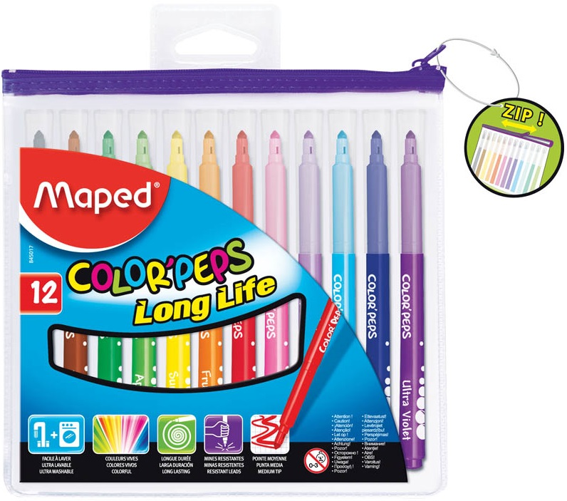 Фломастеры Maped Color Peps 12 цветовФломастеры MAPED Colorpeps с треугольным заблокированным пишущим узлом подходят для нанесения на поверхность бумаги как тонких, так и широких линий. Специальная формула чернил позволяет им очень легко смываться, в том числе, с любого вида ткани.В наборе - 12 цветов.Заблокированный пишущий узел.Трехгранная форма корпуса для более удобного захвата.Ультрасмываемые чернила - легко смываются с рук и одежды.Вентилируемый колпачок.Упаковка - пластиковая, на молнии, с европодвесом.<br>