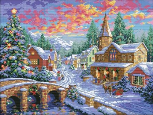 Набор для вышивания Белоснежка Рождественская ночь, 35x47Набор для вышивания крестиком: Рождественская ночь Серия: зима Техника вышивки: счетный крестКоличество цветов мулине: 47 Количество крестиков: 192*256 Размер вышитой работы: 35*47 см Размер канвы: 42*54 см.Торговая марка: Белоснежка<br>