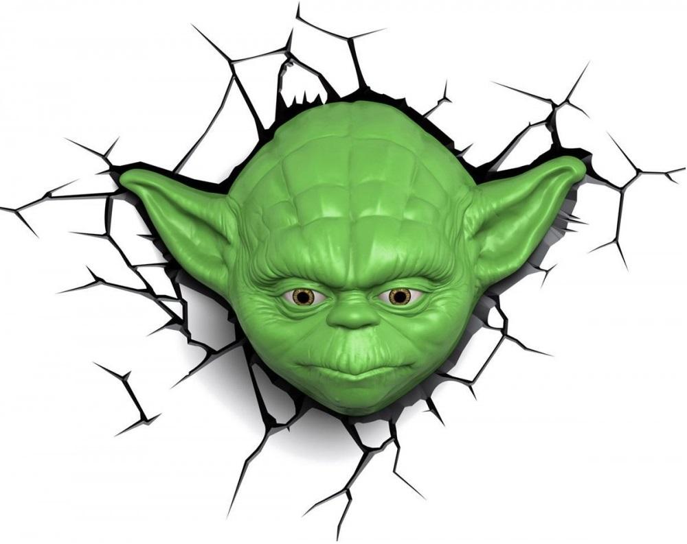 Пробивной 3D светильник Starwars Звёздные Войны -YodaБезопасный: без проводов, работает от батареек (3хАА, не входят в комплект); • Не нагревается: всегда можно дотронуться до изделия; • Реалистичный:3D наклейка-имитация трещины в комплекте; • Фантастический: выглядит превосходно в любое время суток; • Удобный: простая установка (автоматическое выключение через полчаса непрерывной работы)<br>