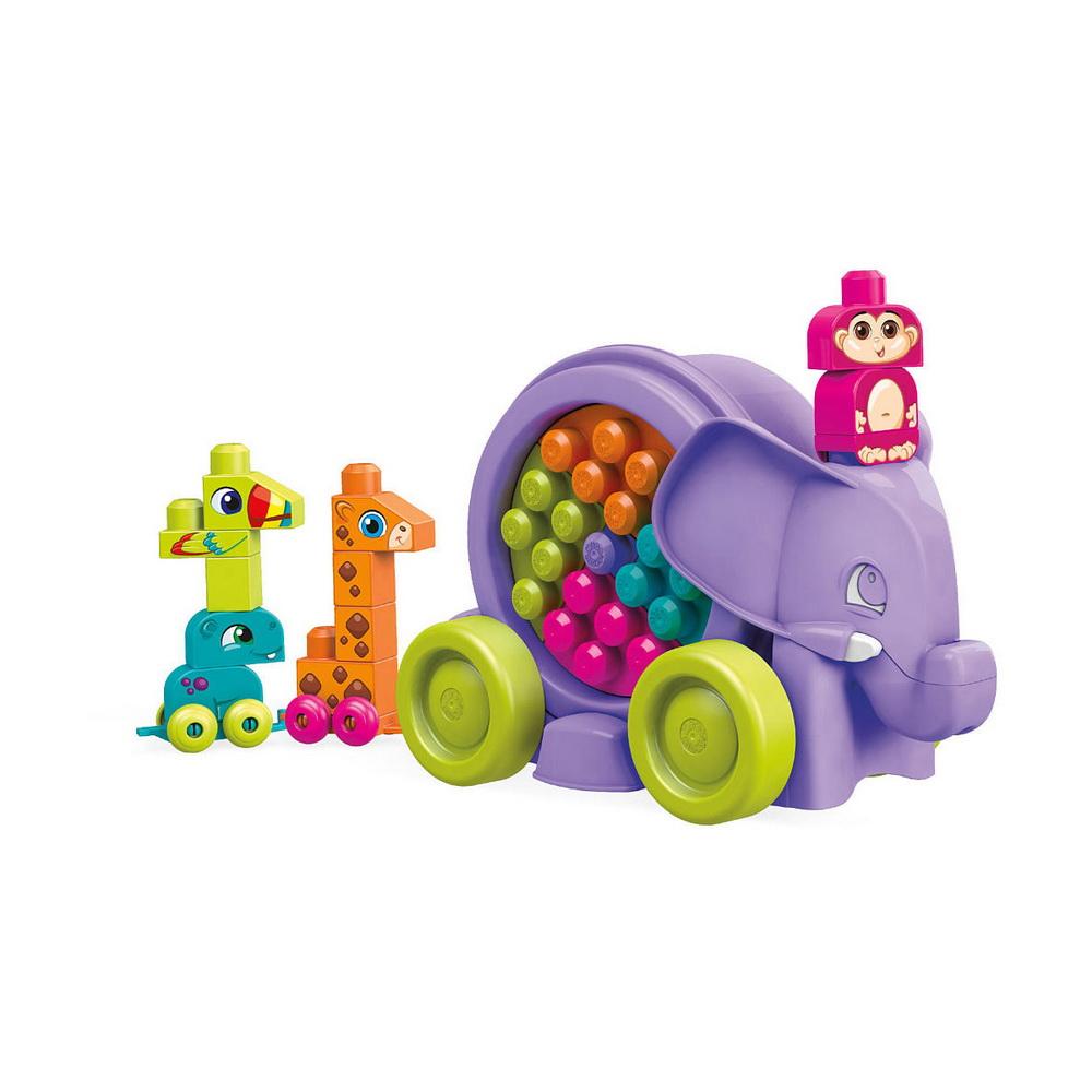 Неуклюжий слонКонструктор Неуклюжий слон из серии Mega Bloks представляет собой очень занимательное изделие. Слоник на колесах способен ехать, если тянуть его за веревочку или толкать перед собой. Туловище слона сделано в виде большого барабана, внутри которого крутятся кубики разных цветов. Барабан можно открыть и собрать других животных: обезьянку, жирафа, тукана и бегемота. Все животные должны иметь свои правильные цвета. Игрушки можно выстроить друг за другом и перевозить их с места на место, а когда игра закончится, легко собрать их снова в барабан.Развивающий конструктор поможет детям применять свою фантазию в процессе игры, поможет изучить цвета и названия животных. Все элементы набора изготовлены из яркого, качественного и нетоксичного пластика, поэтому они абсолютно безопасны даже для маленьких детей.<br>