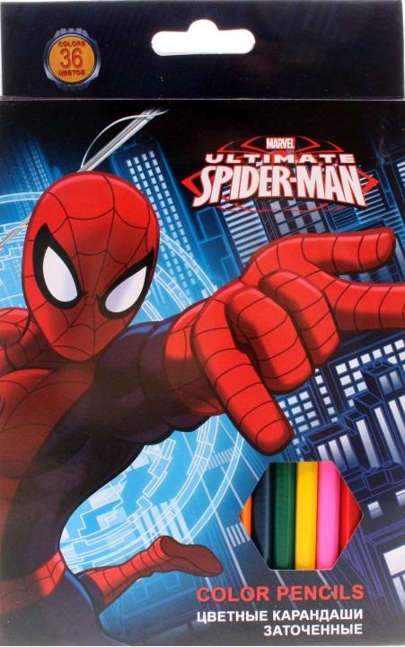 Карандаши Spider Man, 36 цветов краски гуашевые spider man 12 цветов