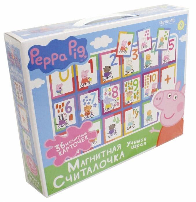 Peppa Pig Настольная игра «Магнитная считалочка» 02541Пеппа знает, что учиться весело и легко! Внутри вы найдете 36 ярких магнитика с цифрами и знаками.Малышу понравится считать!Комплектность: 36 карточек, магниты.Изготовлено из картона, бумаги, полимерных материалов.<br>