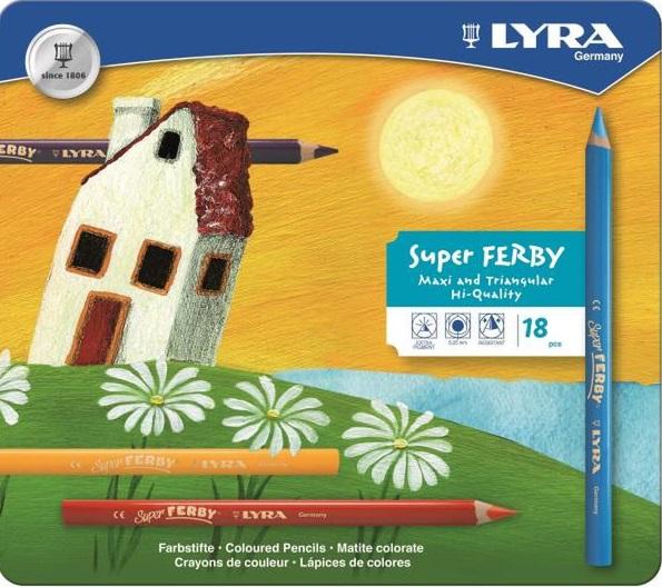 Деревянные карандаши Lyra, 18 цветовКанцелярские товары немецкого производителя Lyra Лира - это великолепное европейского качество и отличный подарок творческому ребенку!Набор цветных карандашей Lyra Super Ferby прекрасно подойдет для юных художников. В наборе ребенок найдет 18 длинных карандашей из калифорнийского полированного кедра, удобной округло-треугольной формы.Карандаши ярких оттенков позволяют достигать четкости контуров, насыщенности штриховки и многообразия полутонов. Округло-треугольный корпус карандаша выполнен из дерева и очень удобен для детей, в том числе пишущих левой рукой. Грифель, даже при падении карандаша, не ломается.В составе набора: 18 разноцветных карандашей.<br>