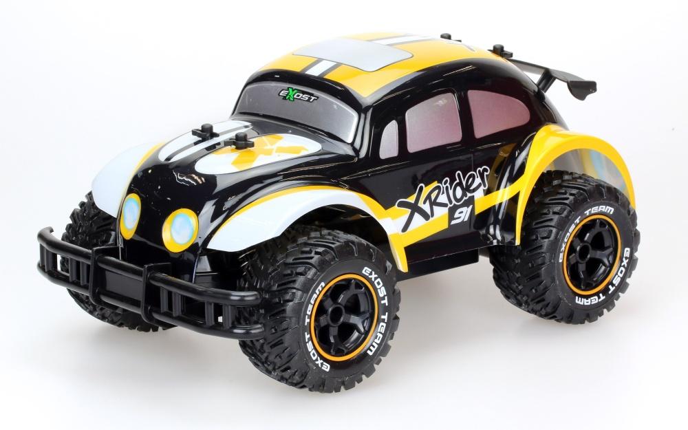 Машина р/у Exost Икс Райдер (на бат.), 1:12Машина Exost Икс Райдер от компании Silverlit управляется с помощью дистанционного пульта. Дизайном кузова игрушка напоминает автомобиль Volkswagen Жук, что понравится поклонникам данной торговой марки. Рельефные колеса обеспечат прочное сцепление с любой поверхностью, что позволит ребенку совершать маневренные повороты и резкое торможение во время воображаемых гонок.от 5 летДля мальчиковЦвет: черный, оранжевый, белый.Масштаб: 1:12.Комплектация: машина, пульт управления.Наличие батареек: в Комплектация не входят.Дальность действия: 30 м.Материалы: пластик.Размер упаковки: 44.2 x 23.4 x 23.4 см.Тип батареек для игрушки: 6 х AA / LR6 1.5V (пальчиковые)Тип батареек для пульта: 1 х 9V типа Крона.Максимальная скорость: 8 км/ч.<br>