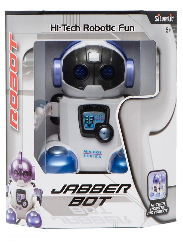 Интеллектуальный робот JabberИнтеллектуальный игрушечный робот Jabber Silverlit, 88309S.Такой робот приведёт в восторг не только ребёнка, но и взрослого человека.Игрушка наделена звуковыми и световыми эффектами, а при открывании шлема маленький  робот начинает танцевать. Благодаря специальному датчику, робот реагирует на хлопки и будет идти в ту сторону, откуда они раздаются, а если на его пути встретится препятствие, то он с лёгкостью его обойдёт. Возможно общение с другими такими же роботами.Робот выполнен из прочной, качественной и совершенно безопасной пластмассы. Для работы игрушки необходимо наличие 4-х батареек типа ААА, которые не входят в комплектацию.Игрушка рекомендована для детей старше 5 лет. Производитель: SILVERLIT<br>