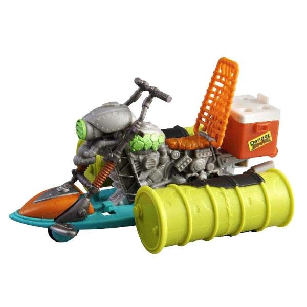 Гидроцикл Черепашек-ниндзяГидроцикл — это уникальное средство передвижения Черепашек-ниндзя. Сконструированное молодыми мутантами, гидроцикл не только прекрасно держится на воде, но и обладает оригинальным дизайном в стиле комикса о прославленных героях и очень эффектно смотрится. В задней части транспортного средства расположен специальный контейнер для жидкости-мутагена (жидкость приобретается отдельно), При помощи которой можно дать отпор монстрам. Игрушка создана для фигурок черепашек стандартного размера (12 см.).Внимание! Фигурка Черепашки-ниндзя в комплект не входит.от 5 летДля мальчиковМатериалы: пластмасса.Размер упаковки: 25 x 19 x 7 см.<br>