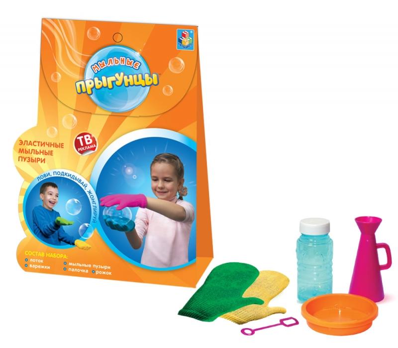 Прыгунцы, эластичные мыльные пузыри, 2 варежки, ёмкость для раств., рожок, 80мл раствор, треуг.