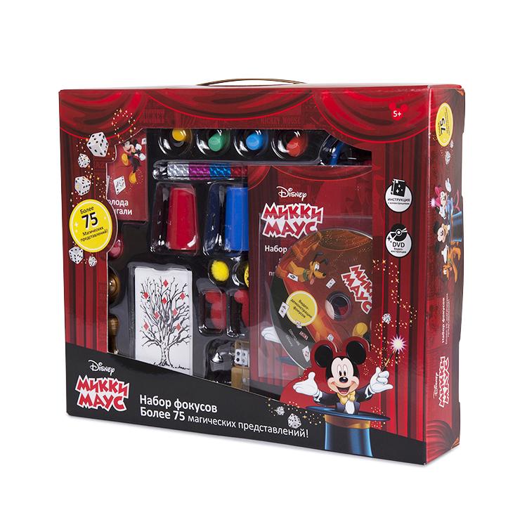 Набор для демонстрации фокусов Disney Mickey Mouse (75 фокусов, DVD, 27,5х6,5х33 см)Лицензионные игрушки пользуются наибольшей популярностью у потребителя.Это самые популярные персонажи, действительно качественная продукция и надёжный, узнаваемый бренд.Все компоненты набора выполнены в фирменном оформлении, в соответствии с высокими стандартами качества компании Disney.Набор содержит весь необходимый реквизит, подробную инструкцию с техникой выполнения трюков и видео-инструкцию на DVD диске.Преимущества наборов фокусов Disney:Знаменитый брендФирменный, привлекательный дизайнБезопасные материалыНаличие видео-инструкций к каждому наборуКачественная, приятная упаковка на русском языке<br>
