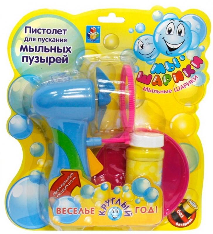 Купить со скидкой Пистолет-фен для пускания мыльных пузырей Мы-шарики 1Toy