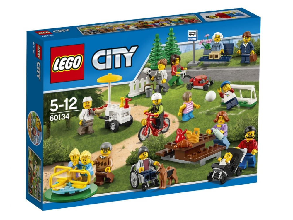 Конструктор Lego City Праздник в паркеПознакомься со множеством новых людей, проведя прекрасный день в парке! Помоги отцу присмотреть за малышом, пока дети играют на детской площадке со своими бабушкой и дедушкой. Купи у продавца с тележкой хот-дог и съешь его, сидя на скамейке в парке, прежде чем вернуться к рисованию. Но следи, чтобы собака на стащила еду, пока ты отвернулся. Это идеальный набор, чтобы сделать город веселее!В комплект входит 15 минифигурок.<br>