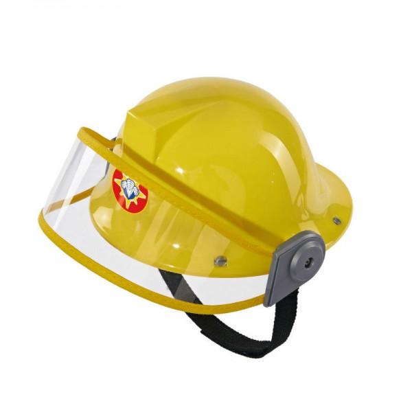 Каска Пожарный СэмКаска с защитой из мультфильма Пожарный Сэм.Тканевый ремешок для затягивания.Диаметр каски 23 см.<br>