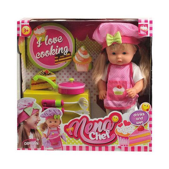 Кукла BABY NENA шеф-повар, 36 смКукла Шеф-повар из серии Baby Nena от производителя Dimian способна привести в восторг девочек. Она выполнена в виде девочки с пухлыми щеками, большими голубыми глазами и длинными волосами светлого цвета. Волосы игрушки можно расчесывать, они легко собираются в различные прически. Благодаря встроенным модулям игрушечный ребенок способен пить из бутылочки. Благодаря аксессуарам, выполненным в виде кухонной утвари, ребенок сможет устроить игру в кулинара.<br>