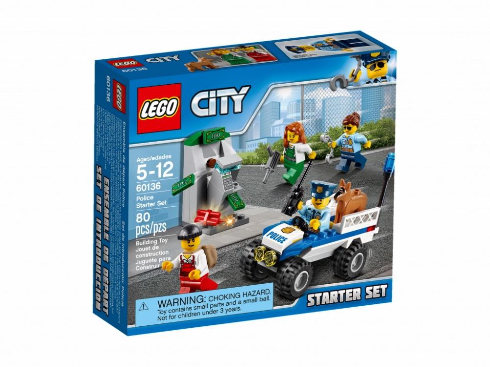 Конструктор Lego City Police Набор для начинающих - ПолицияИспользуй полицейскую рацию и вызови группу поддержки! Воры только что с помощью динамита взорвали стену, к которой крепился банкомат, и теперь пытаются взломать его отбойным молотком! Прыгай за руль полицейского квадроцикла и мчись на место преступления с полицейской собакой, которая поможет полицейским арестовать воришек. Работать в полиции LEGO® City всегда интересно!Информация о набореАртикул: 60136Производитель: LEGOКол-во деталей: 80Фигурок: 4Год выпуска: 2017<br>