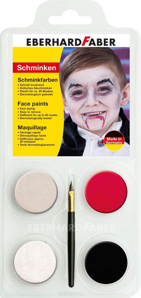 Набор для аквагрима Дракула, 4 цвета + кисточка + инструкцияНабор для аквагрима Дракула EBERHARD FABER -  краски изготовлены на основе натуральных компонентов, абсолютно безопасны, не вызывают аллергии, подходит для лица и тела. Аквагрим легко смешивается образуя новые оттенки, быстро сохнет и после не пачкается. На лицо краски наносится кисточкой или губкой, идеально подходят для тонких контуров. Легко и быстро смываются водой и мылом.<br>