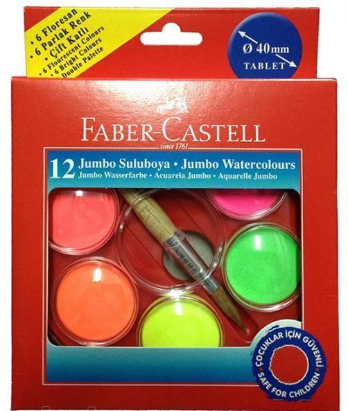 Faber-Castell Акварельные краски JUMBO, диаметр 40 мм, 12 шт.