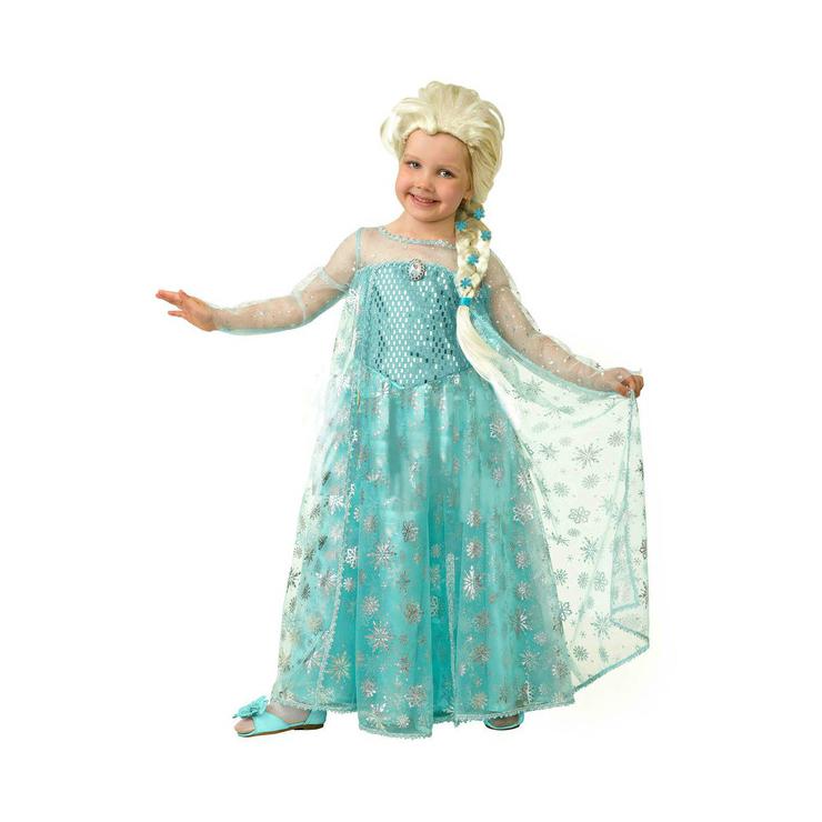 Эльза (текстиль) р.38 7070 ДиснейКарнавальный костюм для девочки Эльза выигрышно будет смотреться на детском спектакле, утреннике или костюмированном мероприятии. Костюм выполнен из текстильной ткани. В комплект карнавального костюма для девочки «Эльза» входят сарафан в пол небесного цвета, выполненного из нескольких материалов и дополненного яркими акцентами в виде серебристых звездочек и парика.<br>
